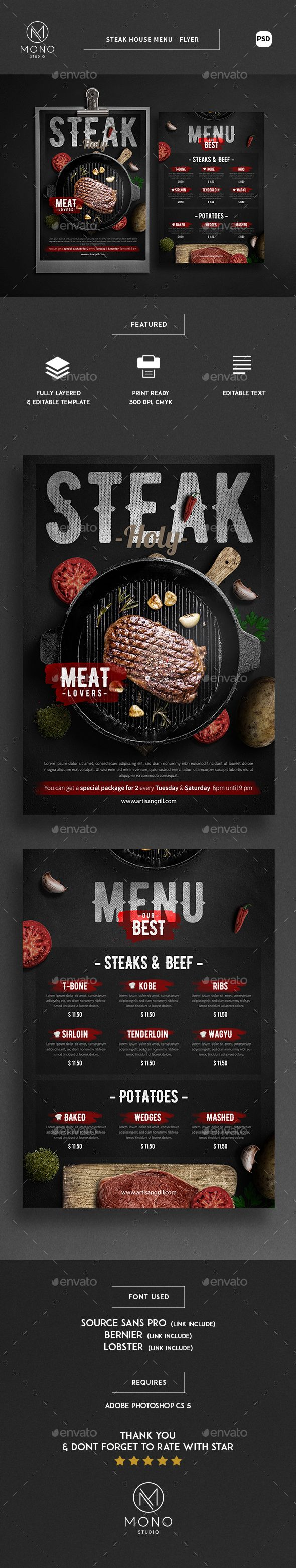 Steak House Menu - Flyer Template PSD. Download here: http://graphicriver.net/item/steak-house-menu-flyer/16587998?ref=ksioks