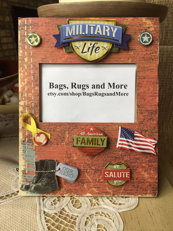 """Military Life picture frame, All American Family picture frame, United States Hero 9"""" x 7"""" picture frame by BagsRugsandMore on Etsy"""