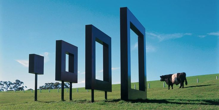 Richard Thompson Untitled  (Red Square/Black Square) 1994 4 units of welded and painted steel  4 x 4 x 5.7m