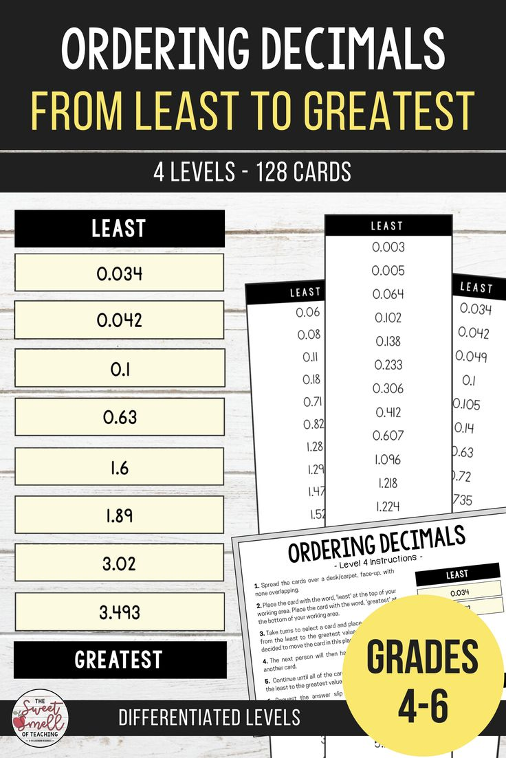 Ordering decimals from least to greatest up to 3 decimal