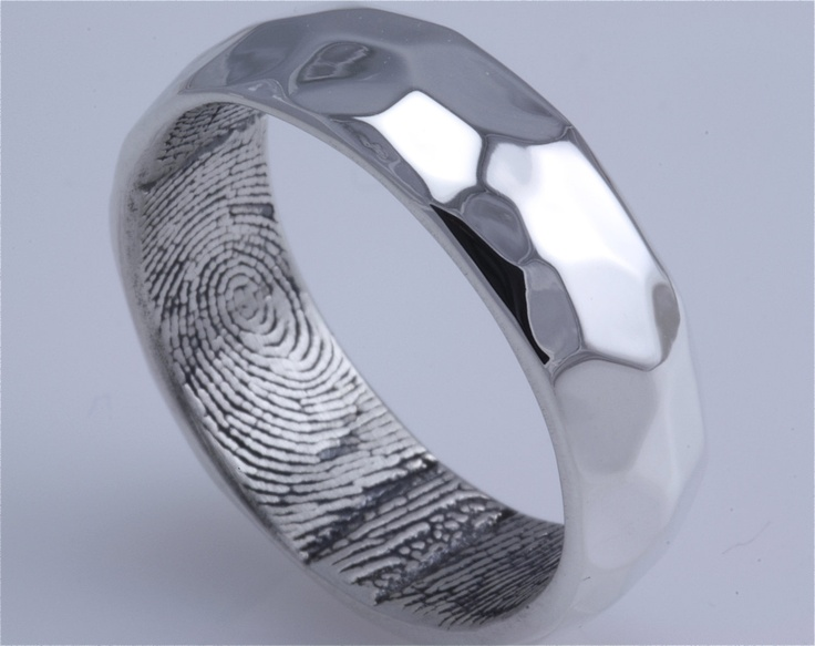Sterling Silver Hammered Surface Custom Band with Fingerprint Wrapped Inside, Oxidized Inside High Polish Outside
