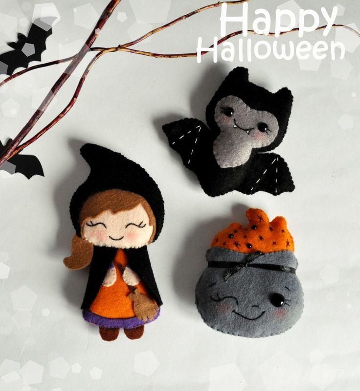 Cute felt Halloween SET of 3 ornaments Halloween witch felt bat decorations Halloween toys felt cute Halloween gift by MyMagicFelt on Etsy https://www.etsy.com/listing/246944915/cute-felt-halloween-set-of-3-ornaments