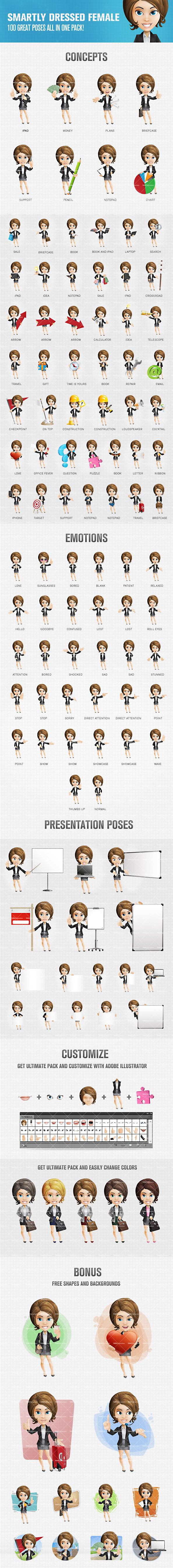 Smartly Dressed Female Cartoon Character #cartooncharacter #vectorcharacter