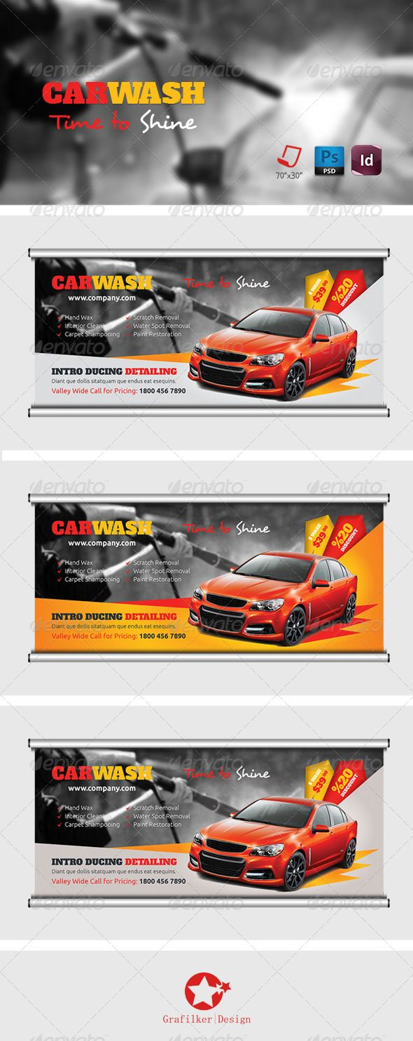 Car Wash Billboard Templates — Photoshop PSD #modified #repair station • Ava...