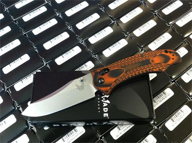 Benchmade 950-1401 Osborne AXIS Rift - Layered Black/Orange Textured G-10 Scales - CPM-S30V Plain Edge Satin Finish Blade - CUTLERY SHOPPE EXCLUSIVE