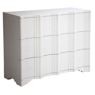The Jackson Chest of Drawers is a 3-drawer chest with a hardwood, groove detailed facade.      *Shown in enamel white    Priced as shown. Please call for other finish options. Prices may vary.
