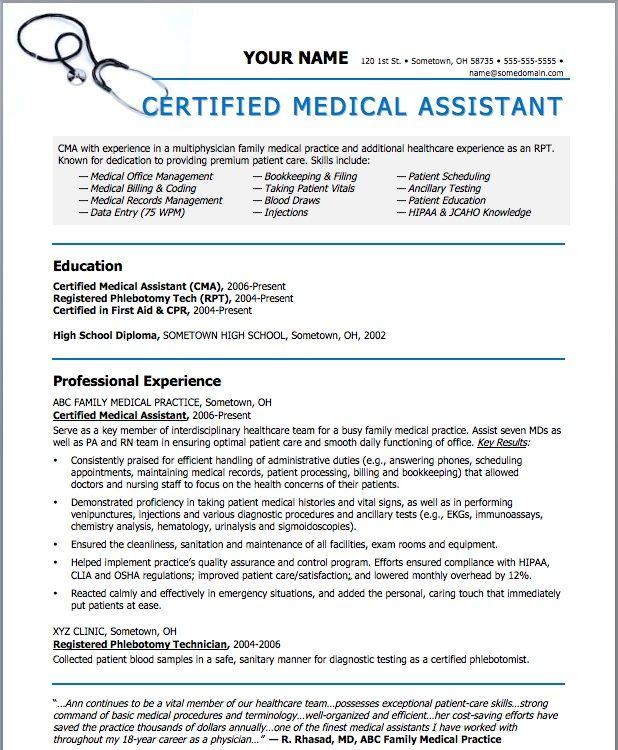 223 best Riez Sample Resumes images on Pinterest Sample resume - resumes for medical assistant
