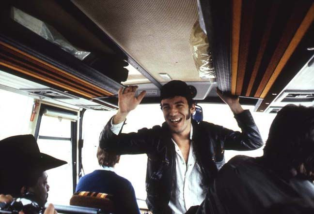 bruce springsteen on tour bus. Photographed by jim marchese