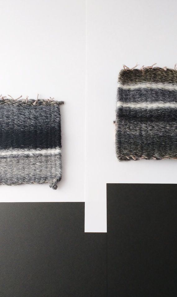 Woven coasters / Hand woven rug mugs / Dark grey coasters / Grey mug rugs / Woven set of 4 coasters / Minimal woven coasters.