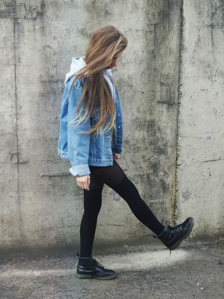 pewter doc marten boots outfit | denim jacket denim jacket hipster boots cute tumblr dr marten boots ...