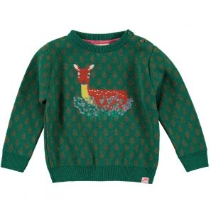 Boys and Girls Tootsamacginty~NEVIS Jaquard Knit Jumper Ivy Deer