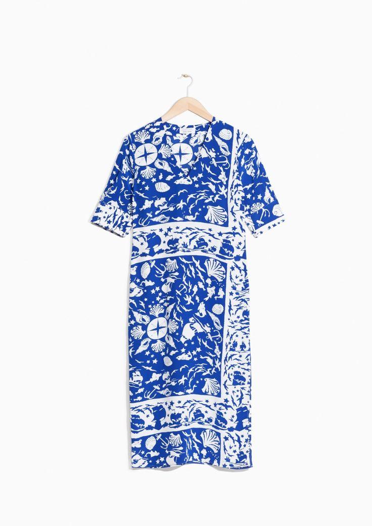 & Other Stories image 1 of Shoreline Print Dress in Blue Shoreline Print