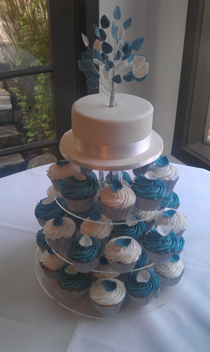 Wedding cupcakes with a leaf on top