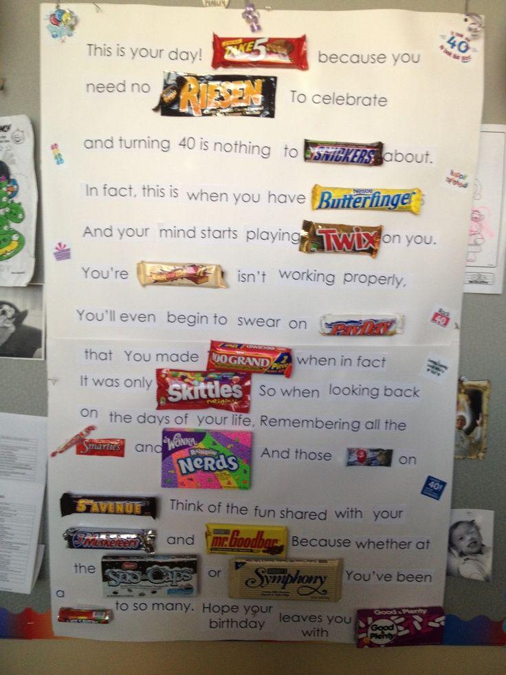40th birthday candy bar card | 40th Birthday Candy Poem