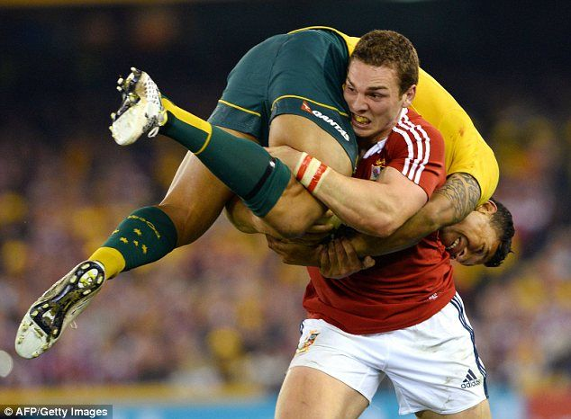 Iconic moment: The passage of play will go down in Lions history - George North carries Israel Folau. British & Irish Lions 2013 - Second Test #BritishandIrishLions #rugby
