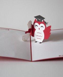 red graduation owl pop up card, congratulations, lovepop