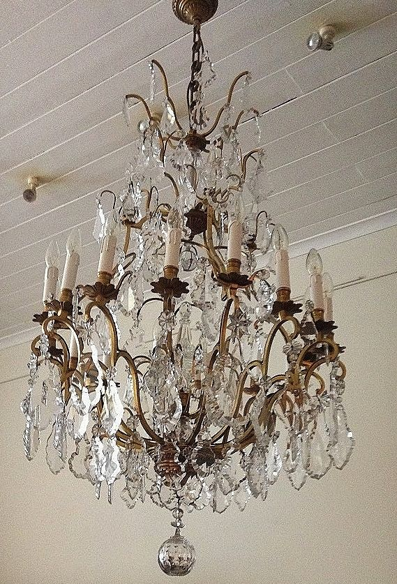 Large French Bronze And Crystal Chandelier