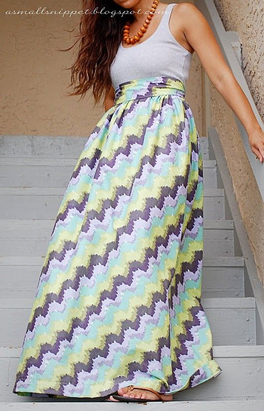 Easy DIY maxi dress...out of an old tank top and whatever fabric you want