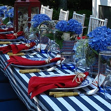 Nautical red, white and blue theme.