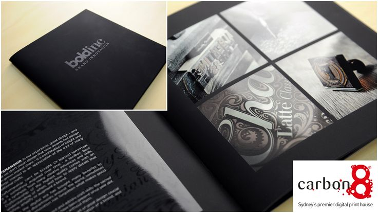 Bold Inc Design Credentials Book. Digitally printed with velvet touch laminate and contrasting spot UV highlight areas finished off with black staples.