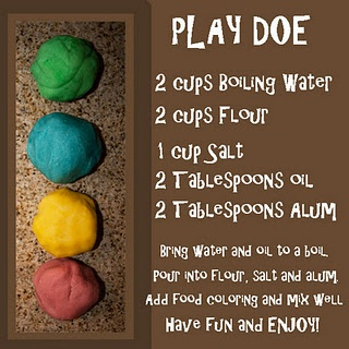 DIY playdough! I've heard you can also use cream of tarter in place of alum, and unsweetened Koolaid packets for color.