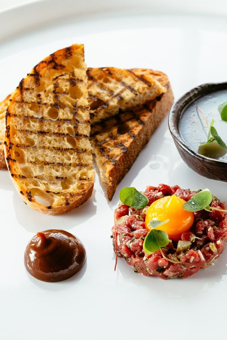 Paul Welburn's imaginative starter serves potted beef and beef tartare in one dish.