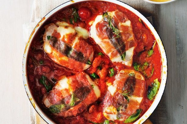 Cook your way to this Italian favourite and say hello, flavour country. True to its Italian name, this succulent pork wrapped in prosciutto with a gooey mozzarella centre literally jumps in the mouth.