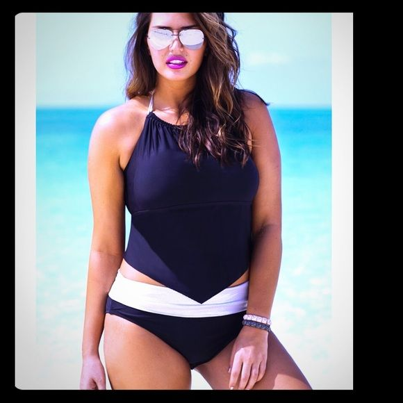 Plus Size Tankini Swimwear Brand new with tags!!! Black and silver! Tankini top. High waist bottoms with wide silver band. Size 20. So adorable!!! Swimsuits For All Swim