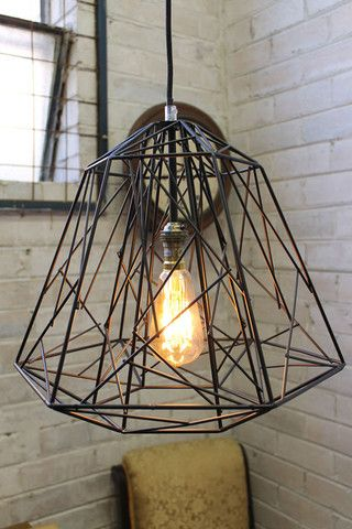 Cross Stitch Pendant Light. Industrial eclectic metal pendant light - Fat Shack Vintage - Fat Shack Vintage