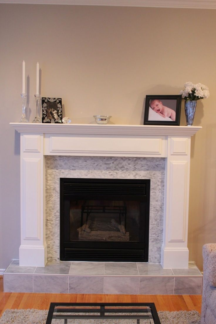 Tile around fireplace tile over brick fireplace before - Tile over brick fireplace ...