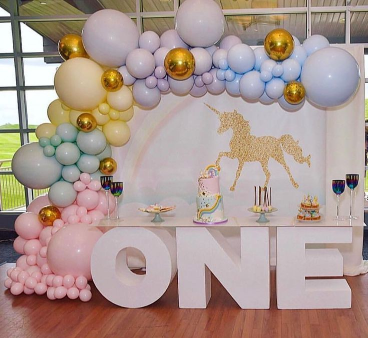 Baby Shower Connoisseur On Instagram A Pretty Pastel Unicorn 1st Birthday Backdrop A Pastel Birthday Unicorn Birthday Party Decorations Birthday Balloons