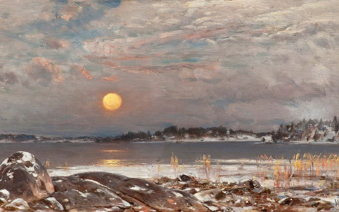 Hjalmar Munsterhjelm: Kevättalven kuutamo (Early Spring Moon), End of 19th Century. A traditional landscape of a night on frozen lake. I like the copper color of the moon that lights up the clouds and the ice. It's echoed in the color of the reeds giving warmth to the otherwise cold, grey, and dead landscape. It's also a reminder, that spring is coming and those reeds will sprout back to life again along with the rest of the nature.