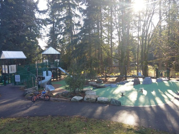 Miners Corner Park Smooth surface, ramps, accessible swing.  22903 45th Ave Se Bothell, WA 98021
