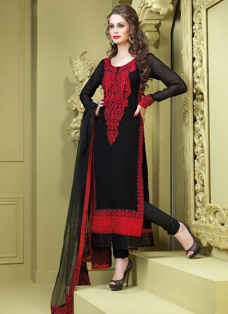 Tantalizing Bick Red & Black #Salwar Kameez