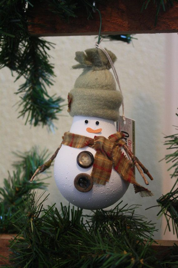 How Are Christmas Ornaments Made Part - 43: Snowman Christmas Tree Ornament - Made From A Recycled Lightbulb (C)