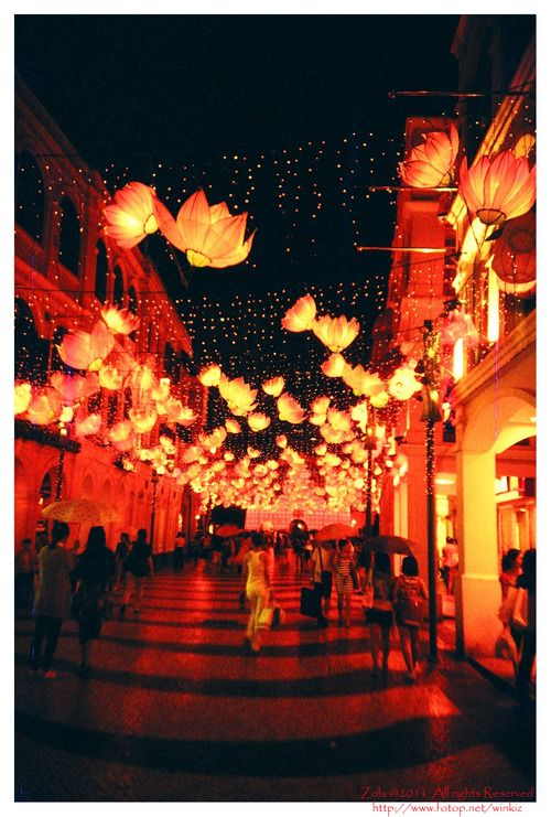 Macau Street @ Night Film: Lomography Redscale
