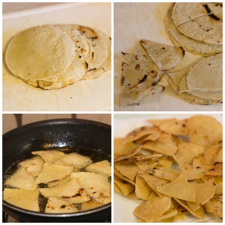 como preparar totopos caseros, nachos caseros, totopos horneados, totopos fritos