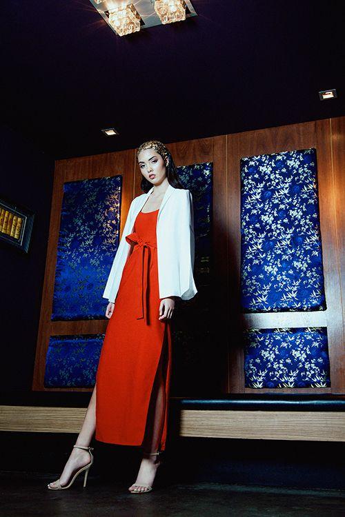 Irreplaceable Bustier Dress | Flaming Pearl Blazer
