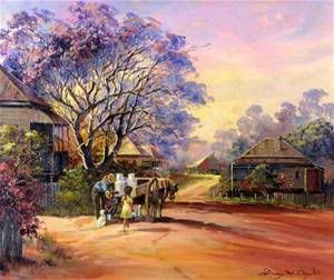 """Helping the milko"" Painting by d'Arcy Doyle, Queensland artist. Love the colours in this"
