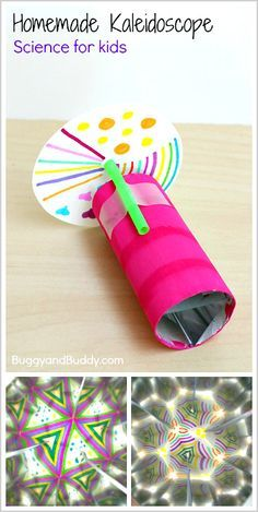 Learn how to make a kaleidoscope in this fun STEM/science activity for kids. It's such a fun way to explore light, reflections, and symmetry! ~ BuggyandBuddy.com