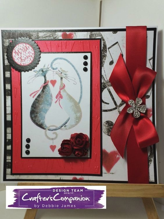 12x12 Tent fold card card made with Crafter's Companion Cattitudes collection CD embossing folder and paper pad. Designed by Debbie James #crafterscompanion
