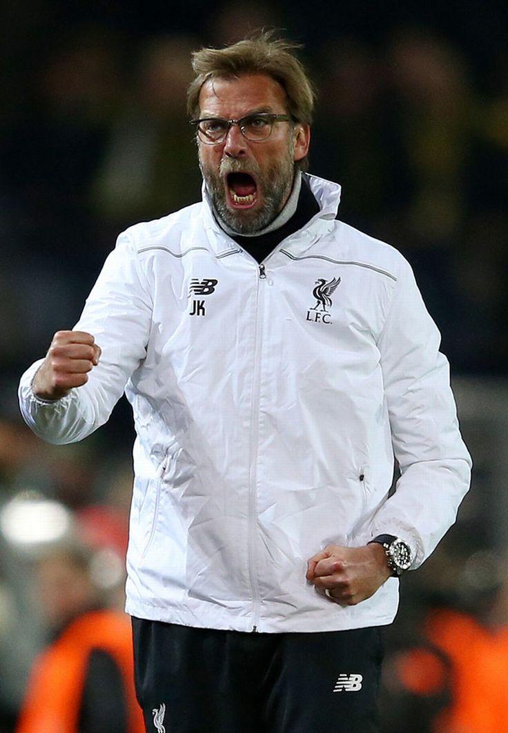 Jurgen Klopp manager of Liverpool celebrates as Divock Origi scores their first goal