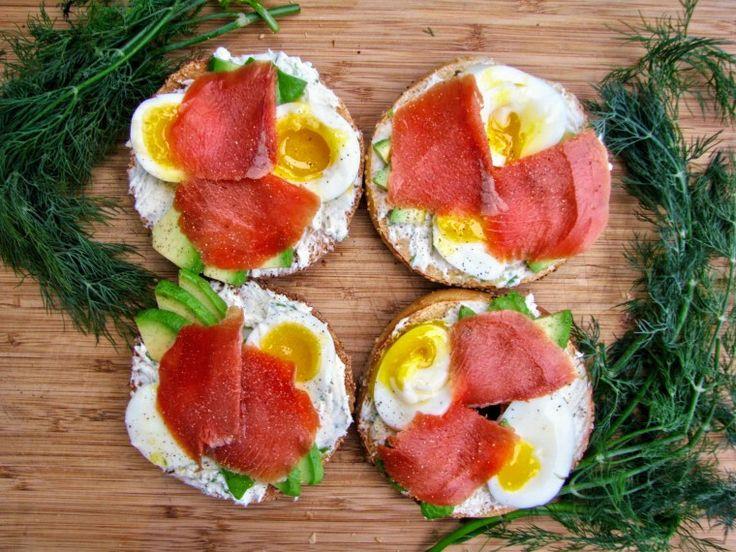 Smoked salmon bagel - The Flexitarian Runner