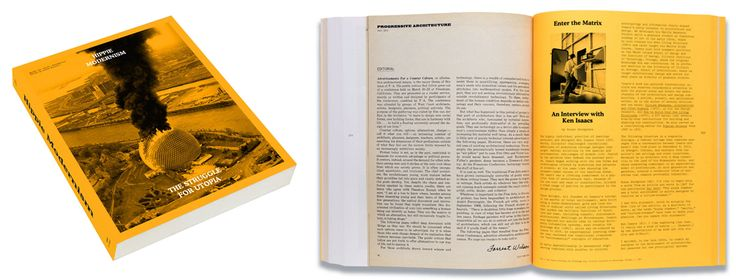 """""""Hippie Modernism"""" examines the art, architecture and design of the counterculture of the 1960s and early 1970s. The yellow reminds of the yellow submarine and the color of smiley faces. On the white pages a transitional typeface is used and on the yellow pages a monospaced typeface is used and is reminiscent of old computer typefaces, like the typeface """"Chicago."""" Photographs are all monotone."""