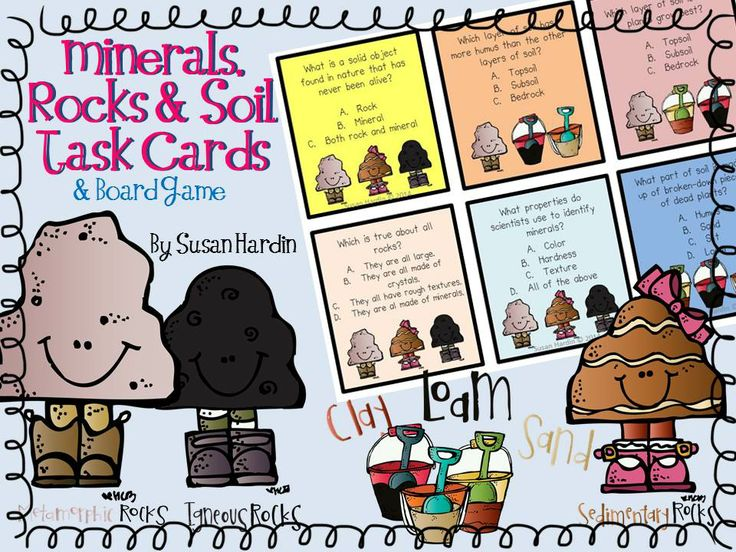 Susan hardin 39 s minerals rocks soil task cards and board for What are soil minerals