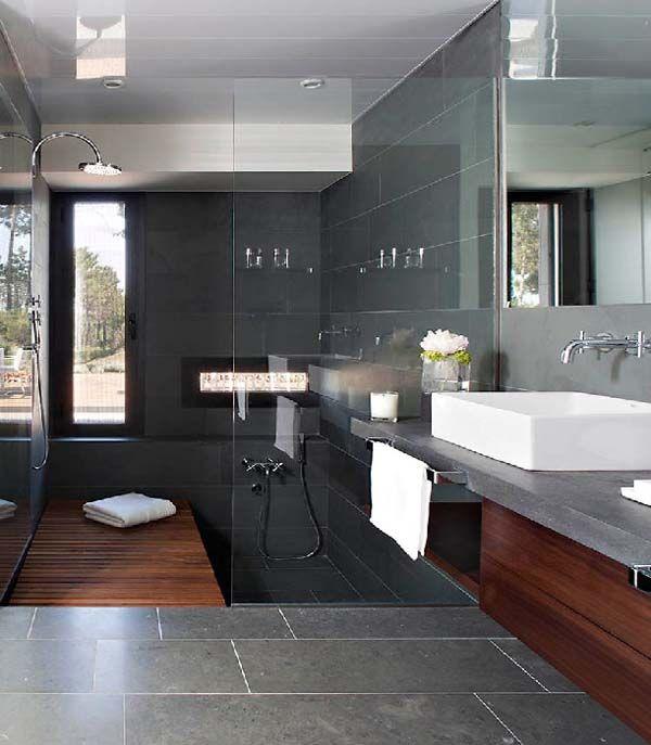 #Salle de bain #Bathroom #Douche #Shower #Italienne #Bain #Bath #Beige #Lavabo #Toillette #WC #Pierre #Carrelage #Gris #Grey #Blanc #White