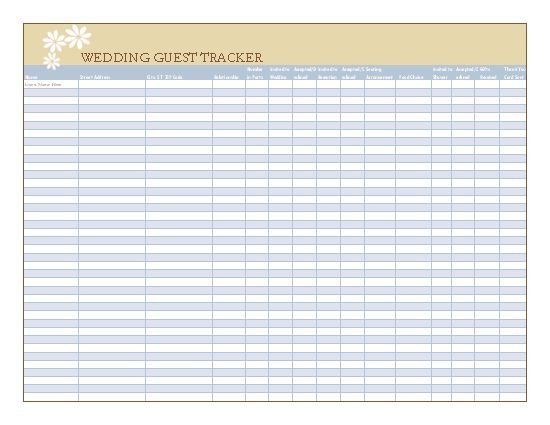 25 best ideas about Wedding Guest List – Wedding Guest List Template Free