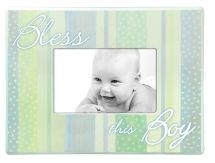 PHOTO FRAME:  BLESS THIS BOY. Beautifully crafted photo frames and plaques for brightening up baby's room. Wooden photo frames with easel backs (frame: 267mm x 19mm x 204mm) – (Photo: 150mm x 100mm) .