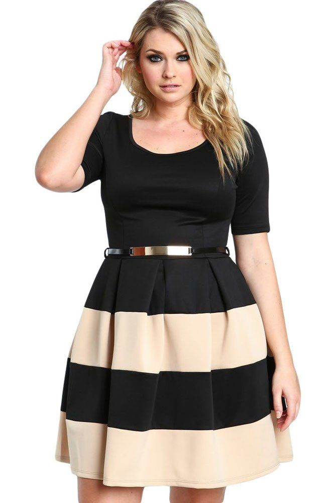 Robes Grandes Tailles Patineuses Abricot Noir a Rayures Ceinture MB22806-18 – Modebuy.com