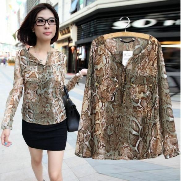 New Sexy Women's Snake Print Shirt Long Sleeve Pocket Chiffon Blouses Shirt S M L